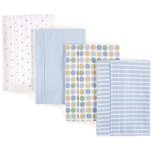 Luvable Friends Flannel Burp Cloth 4 Pack, Blue Polka Dots