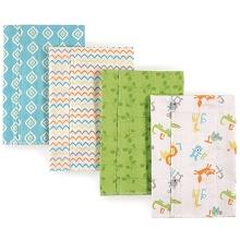 Luvable Friends Flannel Burp Cloth 4 Pack, ABC