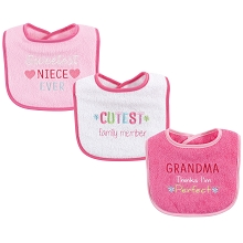 Luvable Friends 3-Pack Drooler Bib Girl Family