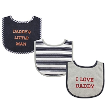 Luvable Friends 3 Pack Baby Drooler Bibs, Boy Daddy