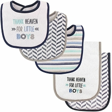 Luvable Friends Boy Bib and Burp Cloths, 5-Piece Set, Thank Heaven