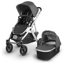 Uppababy 2018 Vista Stroller  Jordan (Charcoal Melange/Silver/Black Leather)