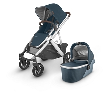 Uppababy 2020 Vista V2 Stroller Fin (Deep Sea/Silver/Chestnut Leather)