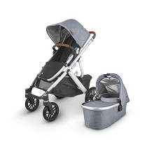 Uppababy 2020 Vista V2 Stroller Gregory (Blue Melange/Silver/Saddle Leather)
