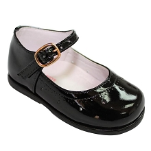 Karela Kids Girls White Dress Shoe Shiny Black
