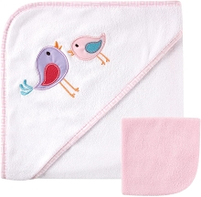 Hudson Baby Hooded Towel with Washcloths, Pink Birds
