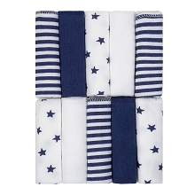 Just Born® Stars and Stripes 10 Pack Washcloths, Navy-White