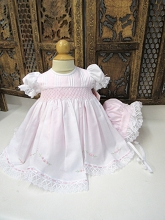 Willbeth Smocked Dress with Bonnet Pink