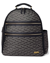 Skip Hop Deco Saffiano Diaper BackPack Black Interweaved Lines