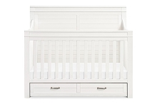 Million Dollar Baby Classic Wesley Farmhouse 4-in-1 Convertible Storage Crib, Heirloom White