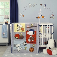 Lambs & Ivy Snoopy Sports Bedding Crib Set 3 Pieces