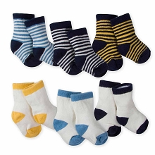 Gerber 6 Pack Boy Stripe Wiggle Terry Crew Socks 0-3 Months