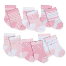 Gerber 6-Pack Girls Princess Castle Terry Crew Socks 0-3 Months