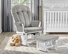 Suite Bebe Victoria Glider/Ottoman White-Light Grey