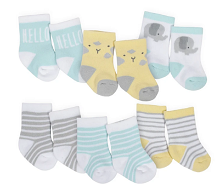Hudson Baby 6-Pack Neutral Elephant Terry Crew Socks, 0-3 Months