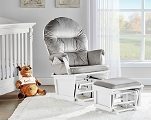 Suite Bebe Madison Glider/Ottoman White-Light Grey