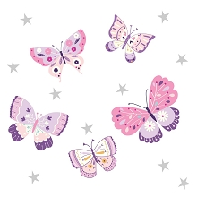 Bedtime Original Butterfly Kisses Wall Decals Applique, Pink-Purple