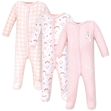 Luvable Friends Sleep and Play 3pk, Unicorn 6-9 Months