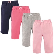 Luvable Friends Girl Pant 4 Pack, Solid Color