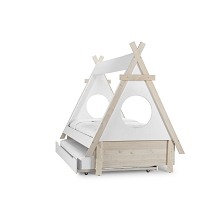 Te Amo Twin Teepee Bed with Trundle White-Natural (2 Boxes)