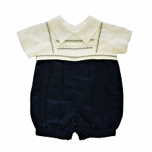 Karela KIds Bubble Romper Boy Ivory-Navy