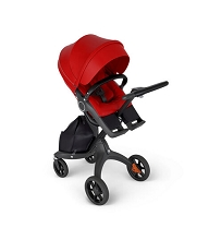 Stokke® Xplory® 6 Black Chassis with Black Handle in Red