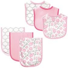 Hudson Baby Girl Bib and Burp Cloth Set, Flower 6-Piece