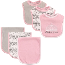Hudson Baby Girl Bib and Burp Cloth Set, Princess 6-Piece