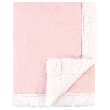 Hudson Baby Plush Blanket with Sherpa Binding and Back Pink-White