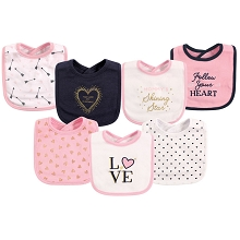 Hudson Baby Interlock Drooler Bib 7 Pack, Love