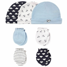 Hudson Baby 7 Pieces Cap and Mittens Blue