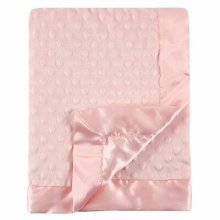 Hudson Minky Blanket with Dotted Mink Backing, Girl Light Pink
