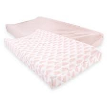Hudson Baby Fitted Changing Pad Cover 2 Pack, Heather Pink Clouds