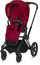Cybex Priam 3 Matte Black Frame with True Red Seat