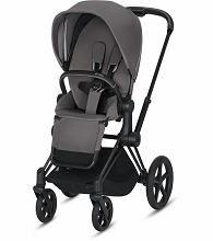 Cybex ePriam Stroller Matte Black Frame with Manhattan Grey Seat