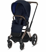 Cybex ePriam Stroller Rose Gold Frame with Indigo Blue Seat