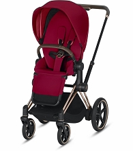Cybex ePriam Stroller Rose Gold Frame with True Red Seat