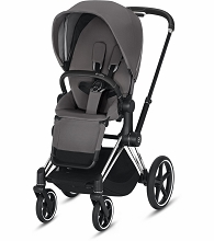 Cybex ePriam Stroller Chrome/Black Frame with Manhattan Grey Seat