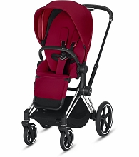 Cybex ePriam Stroller Chrome/Black Frame with True Red Seat