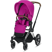 Cybex Priam 3 Stroller Chrome/Brown Frame with Fancy Pink Seat