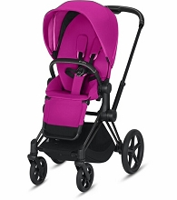 Cybex ePriam Stroller Matte Black Frame with Fancy Pink Seat