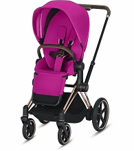 Cybex ePriam Stroller Rose Gold Frame with Fancy Pink Seat