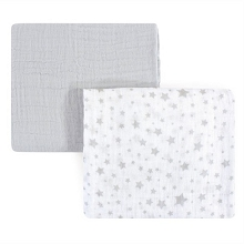 Hudson Muslin Swaddle Blanket, 2-Pack, Gray Stars