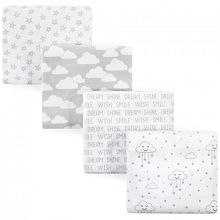Luvable Friends 4 Pack Flannel Receiving Blankets, Gray Clouds