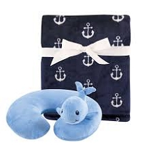 Hudson Baby Boy Travel Neck Support Pillow and Blanket Set, Whale