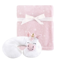 Hudson Baby Girl Travel Neck Support Pillow and Blanket Set, Pink Unicorn
