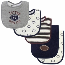 Luvable Friends Boy Bib and Burp Cloths, 5-Piece Set, Football