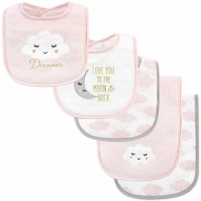 Hudson Baby Girl Bib and Burp Cloth Set, Dreamer 5-Piece