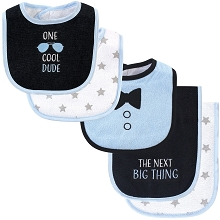 Luvable Friends Boy Bib and Burp Cloths, 5-Piece Set, Cool Dude