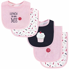Hudson Baby Girl Bib and Burp Cloth Set, Cupcake 5-Piece